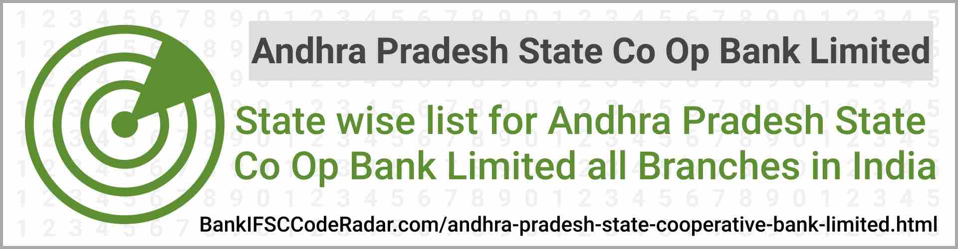 Andhra Pradesh State Cooperative Bank Limited All Branches India