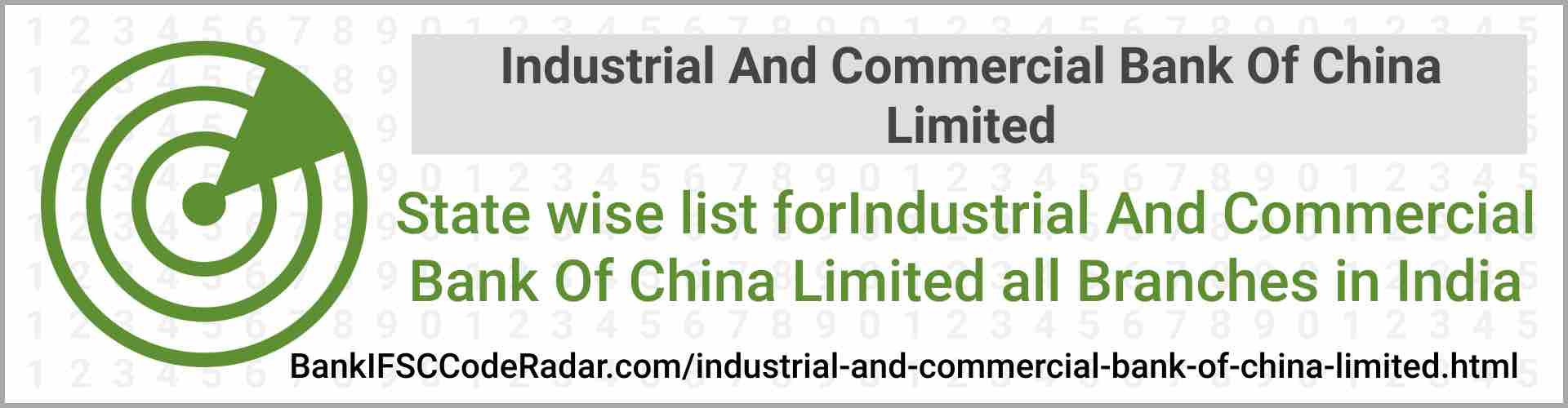 Industrial And Commercial Bank Of China Limited All Branches India