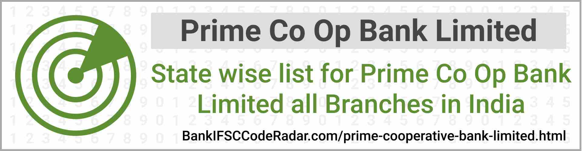 Prime Cooperative Bank Limited All Branches India