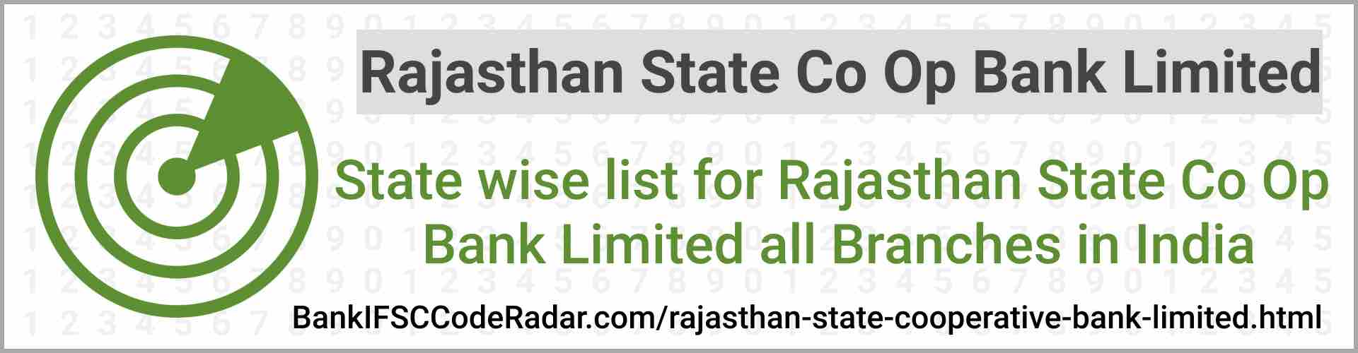 Rajasthan State Cooperative Bank Limited All Branches India