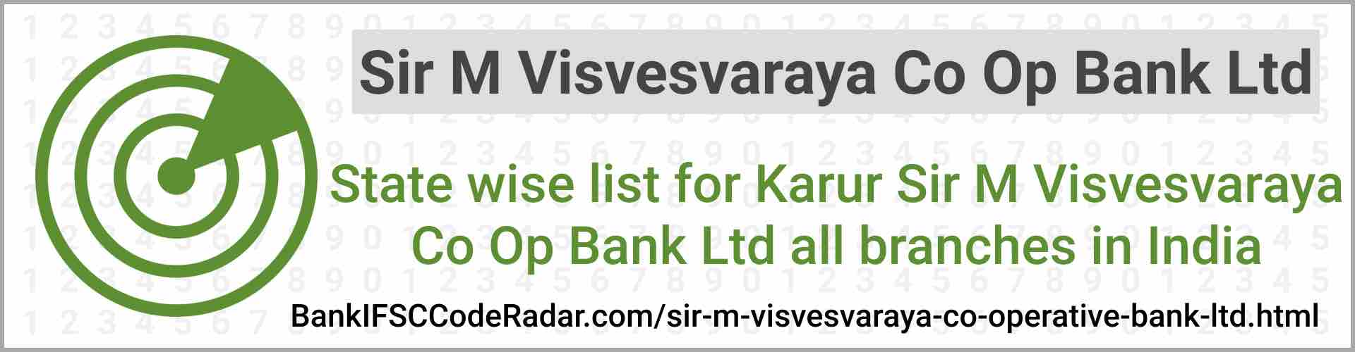 Sir M Visvesvaraya Co Operative Bank Ltd All Branches India