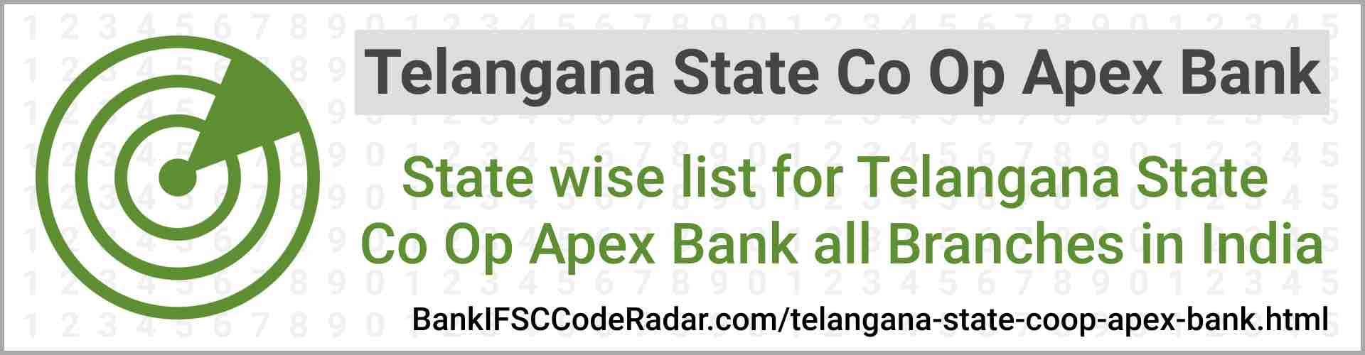 Telangana State Coop Apex Bank All Branches India