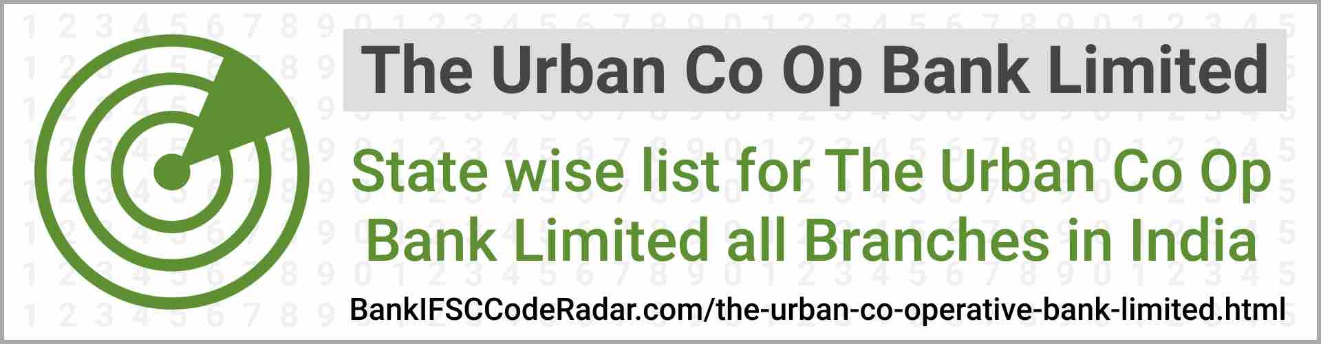 The Urban Co Operative Bank Limited All Branches India